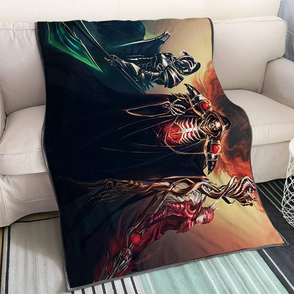 Xungzl Overlord Ainz Ooal Gown Uses Magic 3D Printed Blanket Cartoon Anime Characters Soft Plush Flannel Blanket Quilt Anime Fans Otaku Gift Bedding