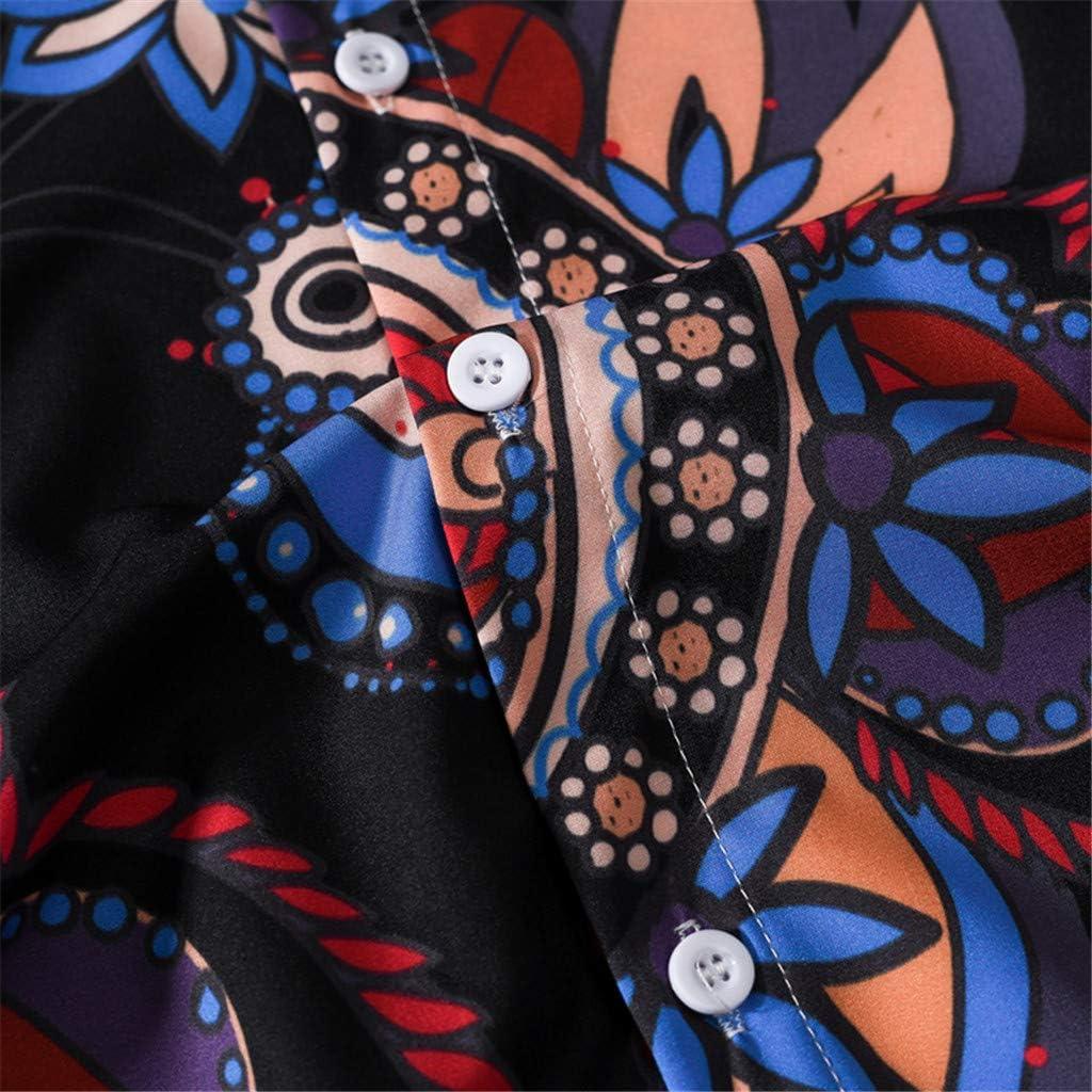 Uscharm Mens Button Down Shirts Long Sleeve Slim Fit Floral Print Casual Shirt