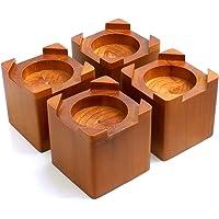 Design61 4-delige bedverhoging, echt hout, meubelverhoger, meubelverhoger, bedverhoging, tafelverhoger, olifantenvoet…