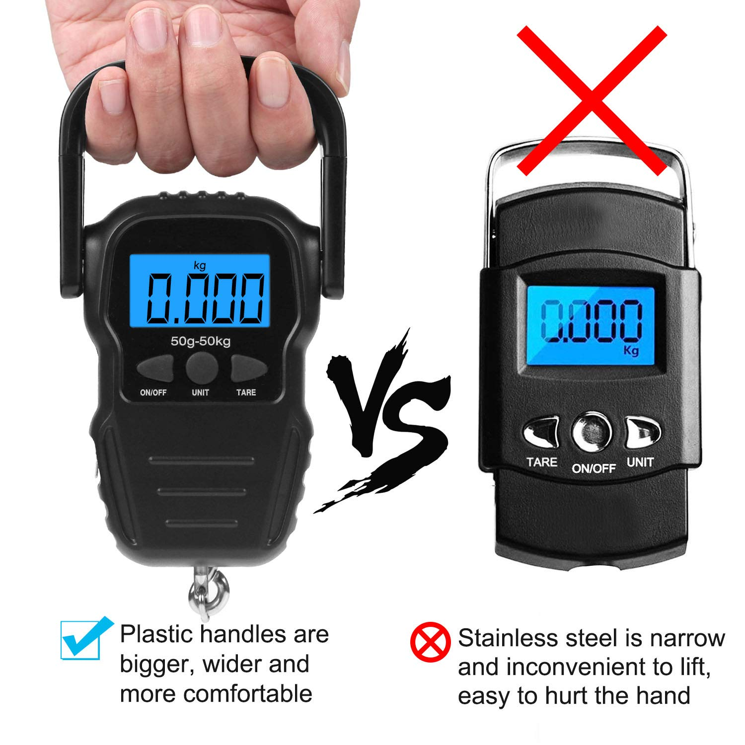 SEEKSUNG Digital Fish Scale,Portable Luggage Scale Electronic Balance Weight Scale 110 lb//50kg with Measuring Tape for Fishing,Kitchen Scale,Food Scale,Postal