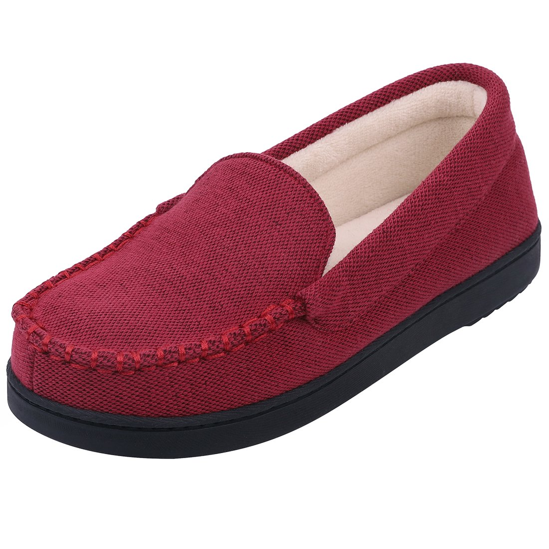3197c016f Ladies' Knitted Moccasin Slippers, Indoor Outdoor Rubber Sole Loafers,  Anti-Slip House