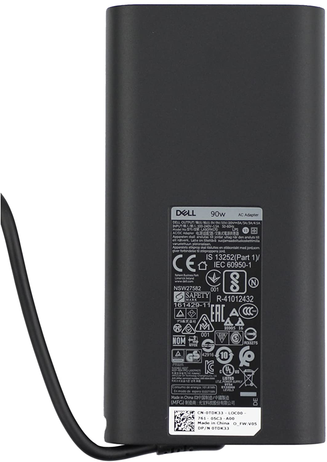New Original Dell LA90PM170 USB-C AC Adapter TDK33 0TDK33 20v/12v/9V/5v-4.5A/3A/3A/3A, Original 90watt Type-C Charger, LA90PM170,for Latitude 5280 5480 5580 7280 7480 7380