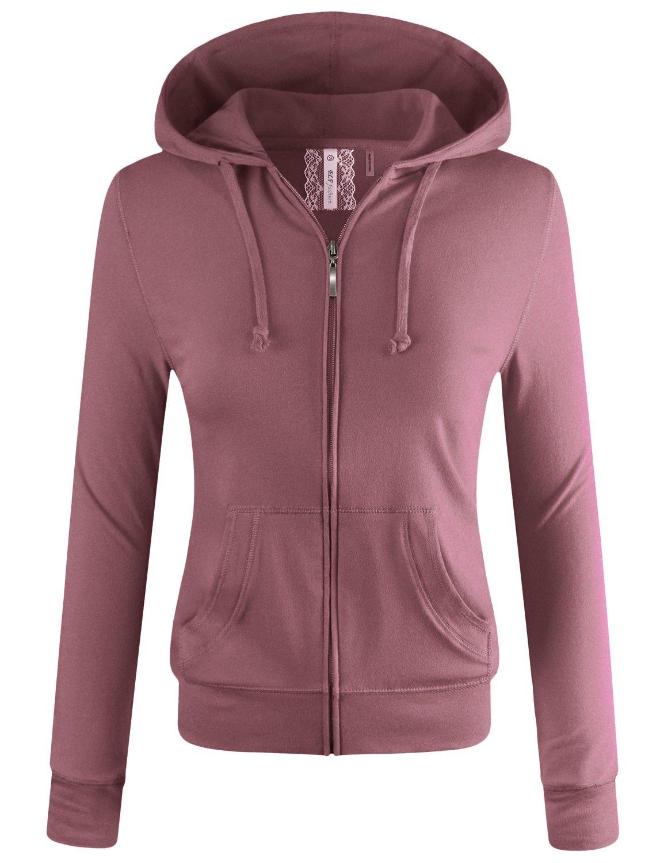 ELF FASHION Women Lightweight Cotton Hoodie Casual Long Sleeve Zip-up Jacket W/Kangaroo Pocket DUSTYMAUVE 2XL