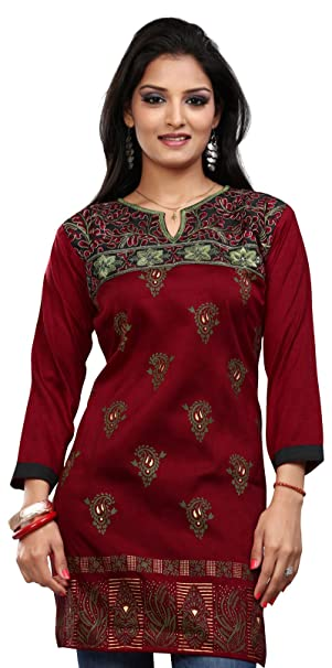 India Túnica Top Kurti Para Mujer Bordada Blusa Indian Apparel (Granate, M)