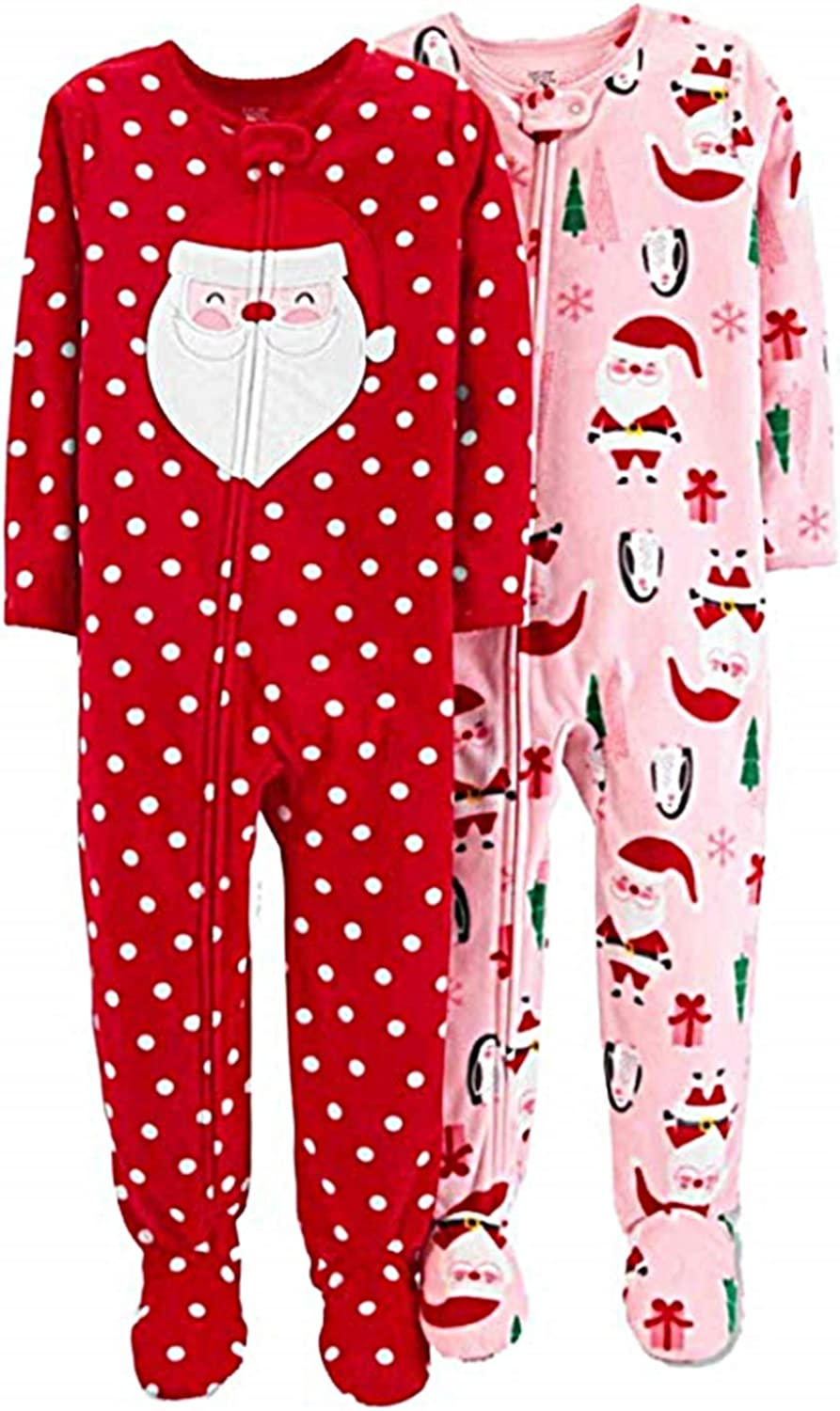 Carters Infant Girls 2 PC Fleece Santa Claus Christmas Sleeper Pajamas Size 4T Red