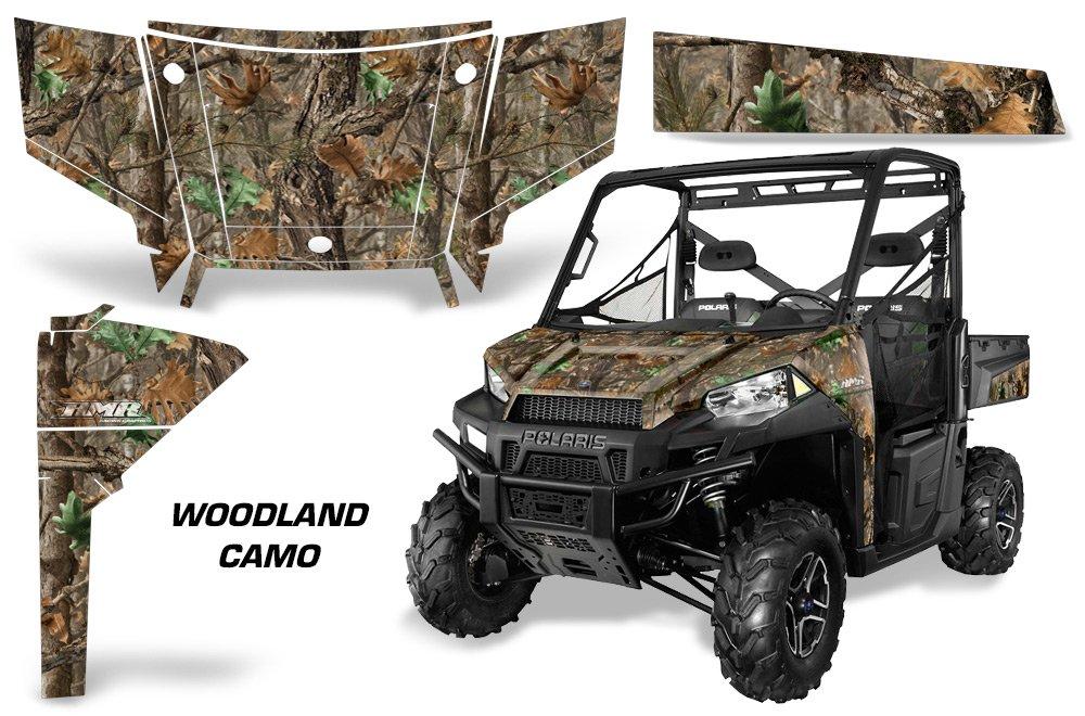 AMRRACING Polaris Ranger 900 2013-2015 Full Custom ATV Graphics Decal Kit - Woodland Camo