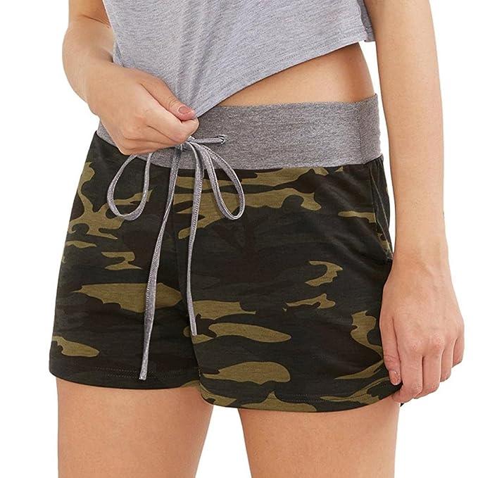 b38ed66abe8871 ZARU Damen Camouflage Shorts, Trainings Yoga Sportshorts Elastische Taille  Dünne Kurze Hosen mit Tunnelzug
