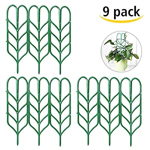 "Seway Garden Trellis, Plant Trellis DIY Potted Plant Support, Leaf Shape Mini Climbing Plants Flower Vegetables Rose Vine Pea Ivy Cucumbers Pots Support, 4 16"" (9 Pack)"