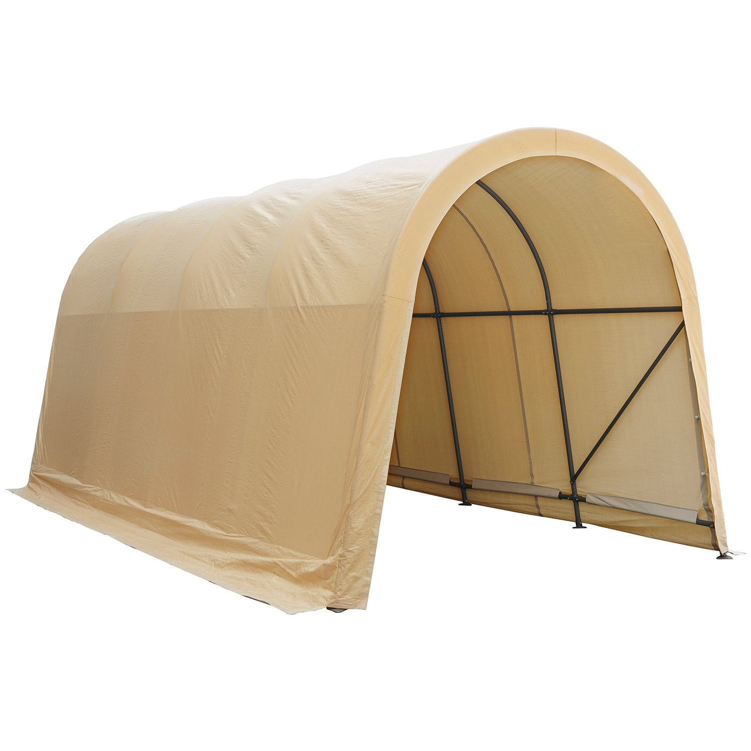 Abba Patio Garage and Shelter 10 x 20 x 9 ft Outdoor Storage Shed Heavy Duty Canopy Carport, Beige