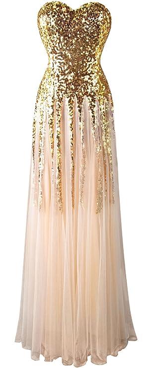 Angel-fashions Damen New Gold Sequin Schatz Kult Lace up bodenlangen Kleid