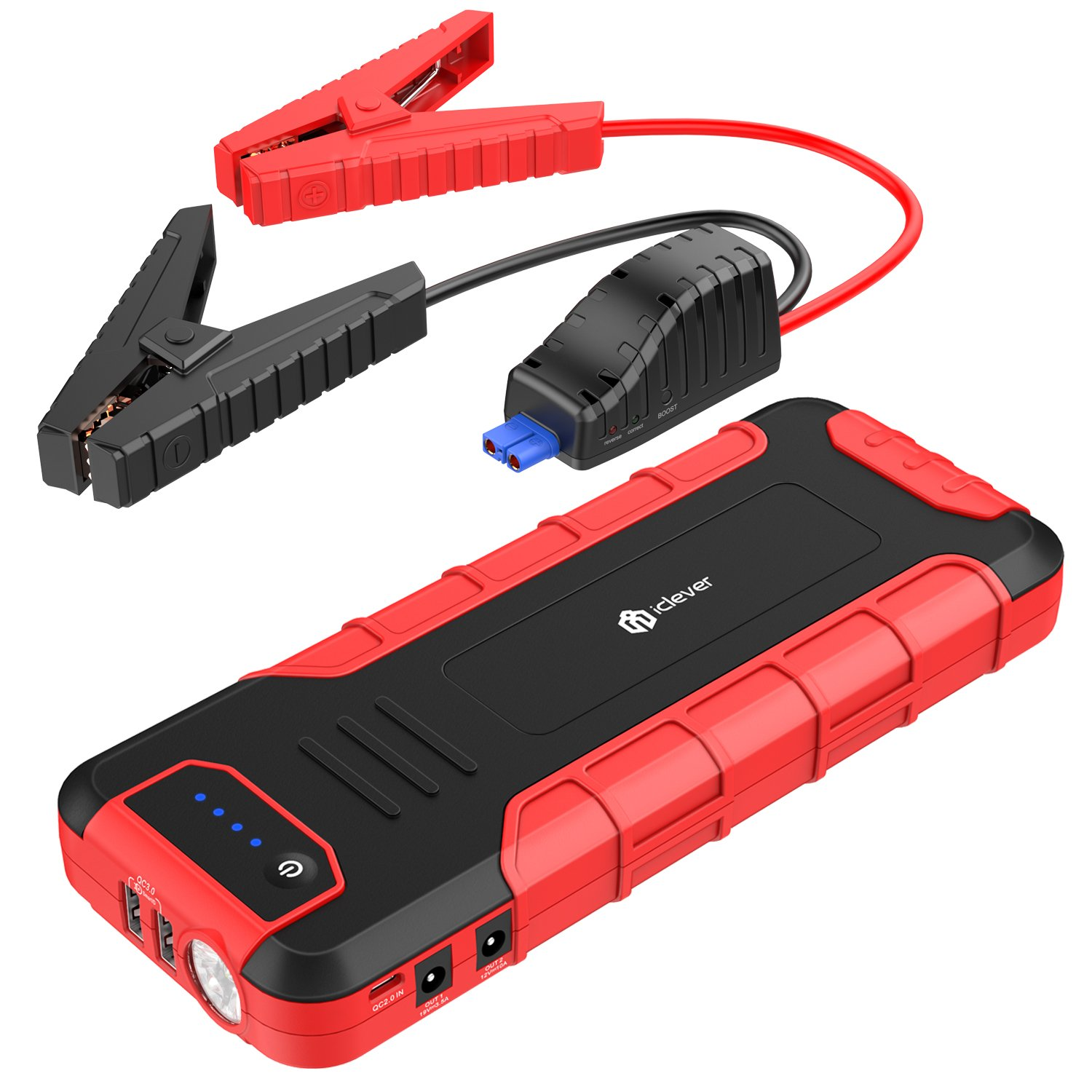 iClever 1300A Peak Portable Car Jump Starter (up to 8L Gas or 6.5L Disel Engine), Auto Battery Booster, Power Bank Car Battery Charger with Smart Clamps and Adapter