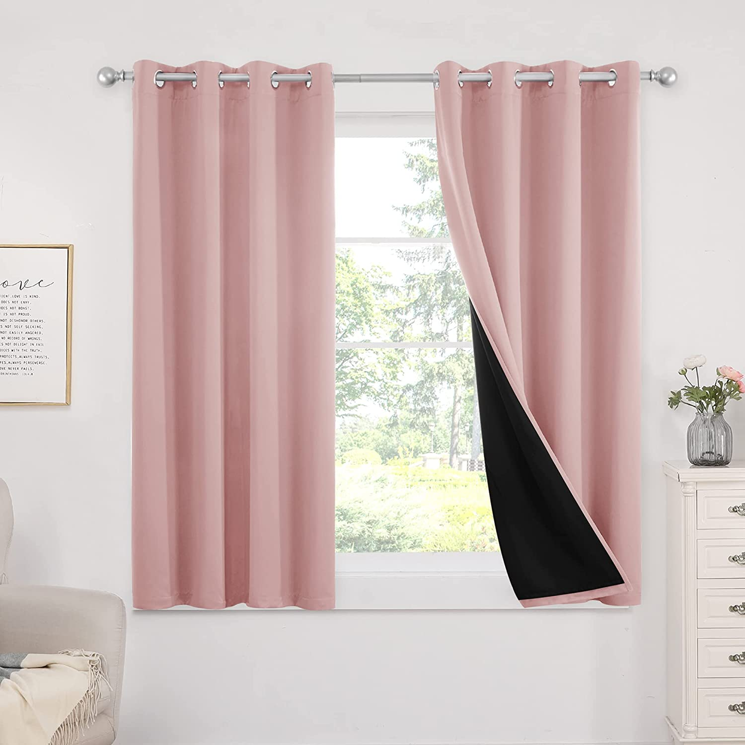 Deconovo Lined 100% Blackout Curtains Pink Thermal Insulated Doubled Window Drapes Grommets Light Blocking Room Curtains for Bedroom Living Room Kitchen, 2 Panels, Each 52x63, Coral Pink
