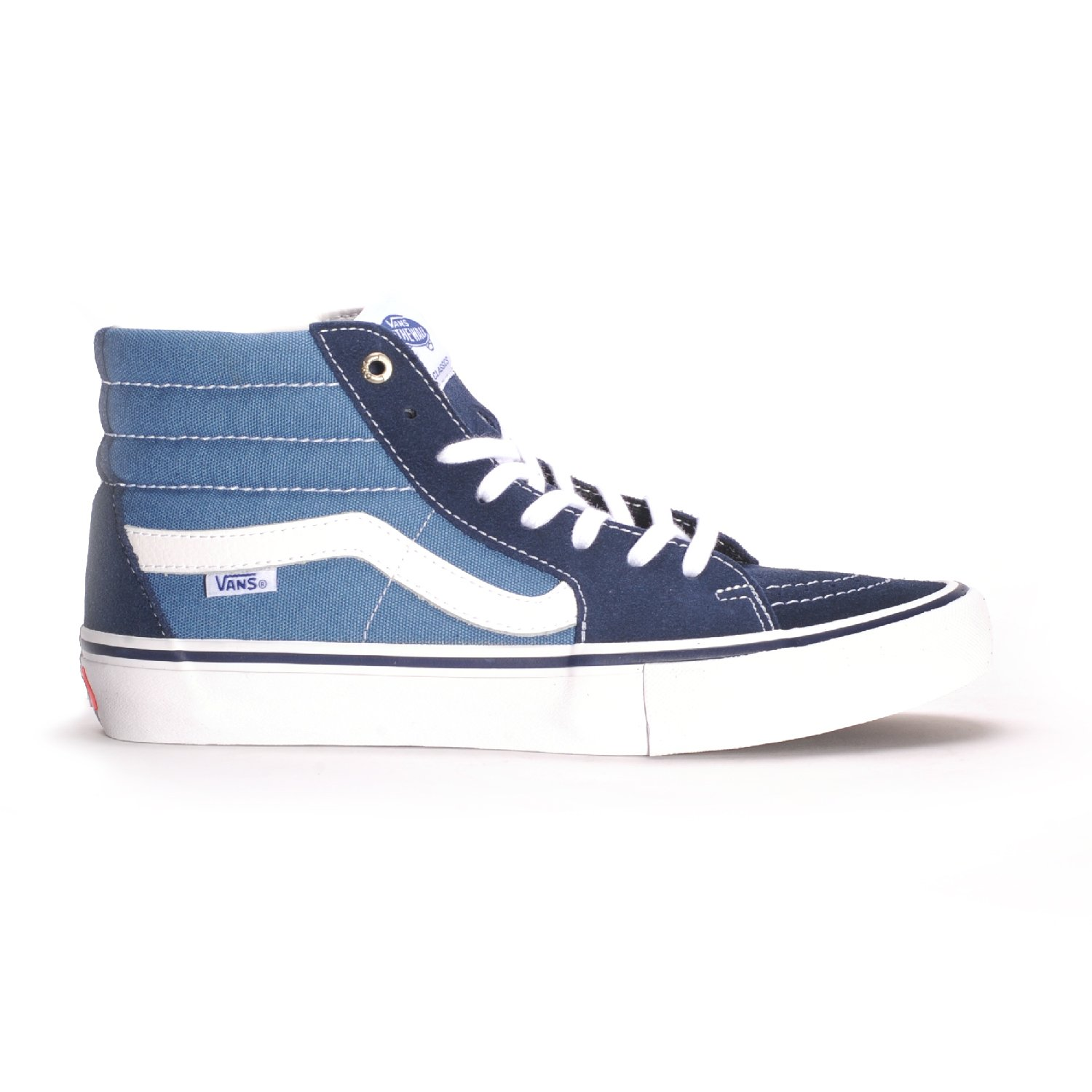Vans Sk8-Hi Unisex Casual High-Top Skate Shoes, Comfortable and Durable in Signature Waffle Rubber Sole B01I0LIKMU 10 D(M) US|Navy/Stv/Navy