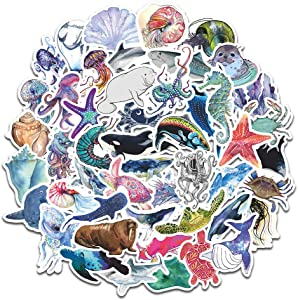 Ocean Stickers for Water Bottles, Cute Stickers for Laptop Phone Skateboard Luggage Helmet Guitar Bike Car, Cool and Trendy Waterproof Vinyl Decal for Teen and Girls (Marine Life)