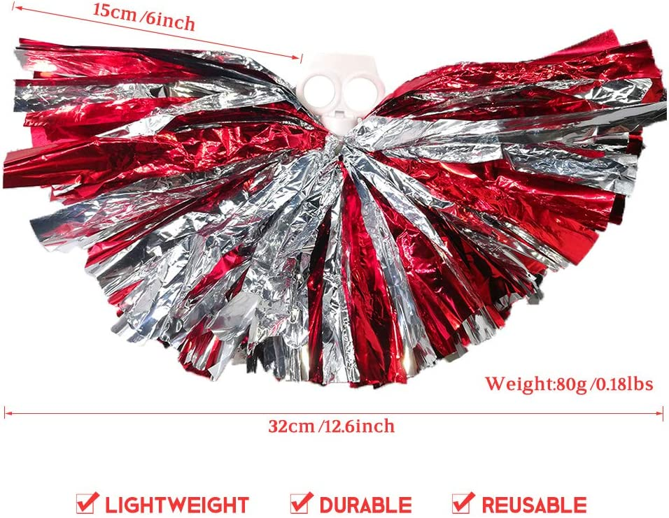 AUHOKY 4Pcs Metallic Foil Cheerleading Pom Poms Premium Cheerleader Pompoms Kit 6 Inches Cheering Hand Flowers for Sports Meeting Cheers Ball Game Dance Fancy Dress Night Party