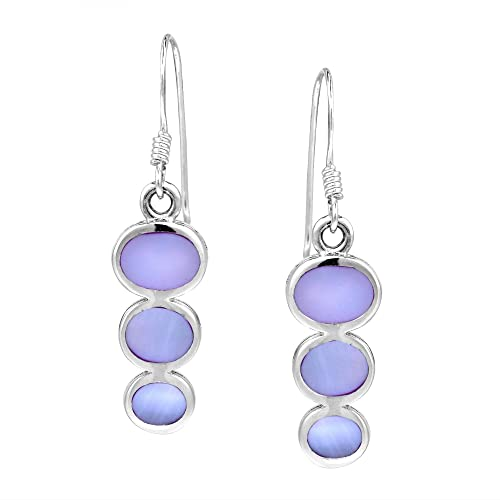 Amazon.com: Triple Oval purple-lilac Madre de Perla Plata de ...
