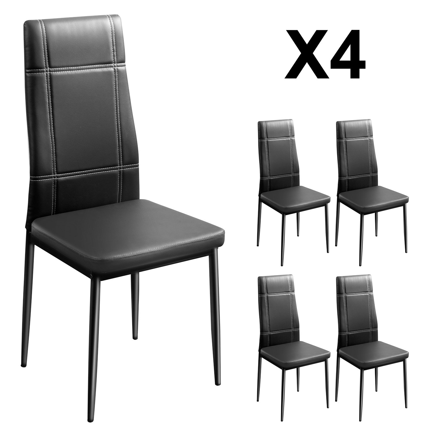 Merax Dining Chairs Set of 4 High Back Design with Heavy Duty Frame PU Leather Cushioned Seat