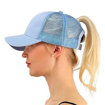 2018 Ponytail Baseball Cap Hat Women Messy Bun Trucker Outdoor Dad Hat -  Light Blue 87236bd3bcd