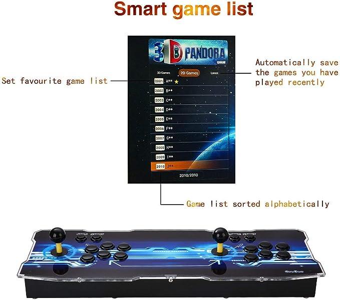 Amazon.es: Arcade Machine 3188 Juegos clásicos, Pandora Box 12 con 3188 Juegos Retro Consola Maquina Arcade Video Gamepad, 4 Joystick Partes de la Fuente de alimentación HDMI y VGA y Salida USB
