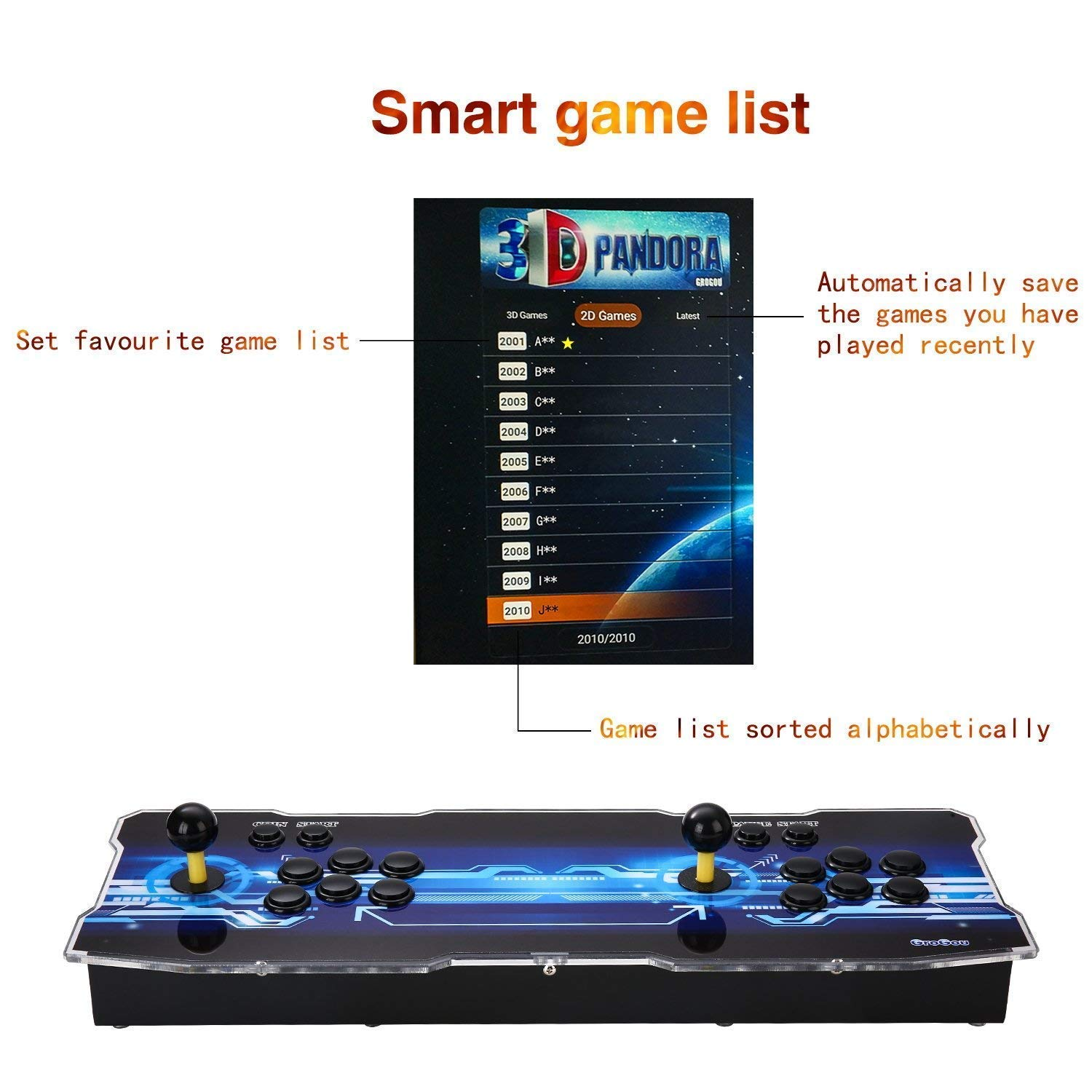 [2350 HD Retro Games] 3D Pandoras Box Arcade Video Game Console 1080P Game System with 2350 Games Supports 3D Games (Black) 1920x1080 by TanDer (Image #3)