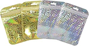 ISKYBOB 100 Pieces Resealable Mylar Small Bags Metallic Flat Zip Lock Foil Pouch Water Proof Food Storage Gift Wrapper Retail Accessories, Gold+Silver