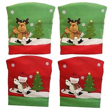 Weihnachtsdeko Stuhl.Amazon De Magideal 4 Stück 50 X 60cm Weihnachtsstuhl Stuhlhussen