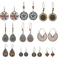 NEPAK 10 Pares de Pendientes Colgantes Bohemios de La Vendimia,Boho Cuelgan Los Pendientes,Big Circle Hook Earrings