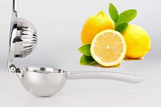 My Companion Zitronenpresse Limettenpresse Orangenpresse Presse für Zitronen, Limetten o. Orangen Spülmaschinenfest robust Silber Zitruspresse Saftpre