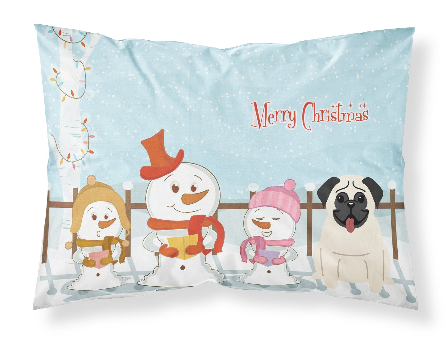 Carolines Treasures Merry Christmas Carolers Pug Cream Fabric Standard Pillowcase BB2335PILLOWCASE Multicolor