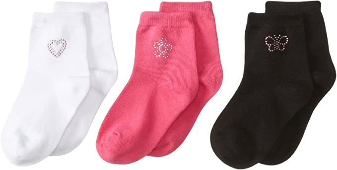 BABY GIRLS COTTON RICH 3 PACK HEARTS BUTTERFLY FLOWER SOCKS