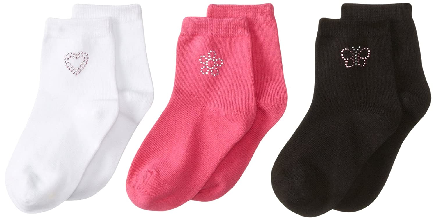 Pack of 3 Country Kids Girls Little Girly Cotton Rich Socks with Sparkly Silver Applique