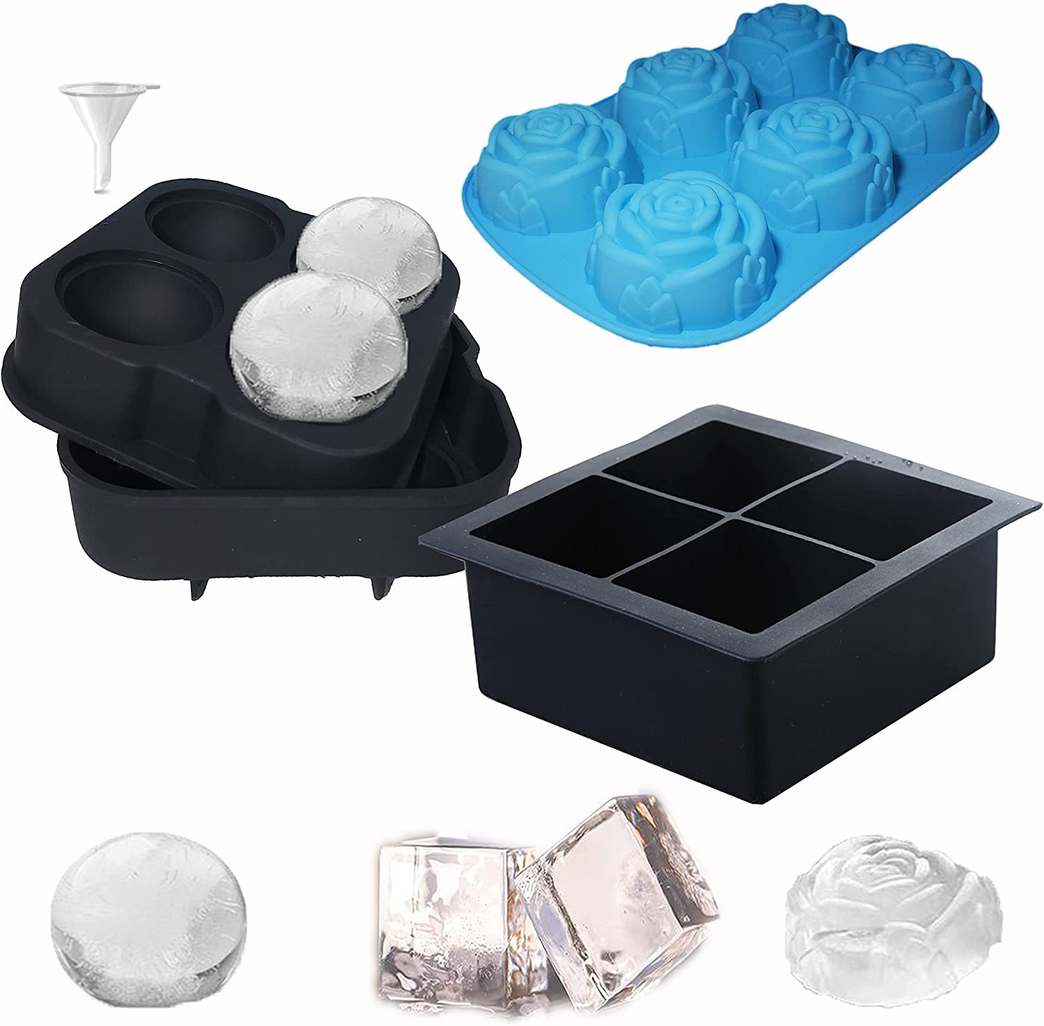 Ice Cube Tray silicone, Sphere Round Ice Cube Mold Square Rose Ice Molds with Lid & Funnel for Whiskey Old Fashioned Cocktails, Bourbon freezer (Set of 3)