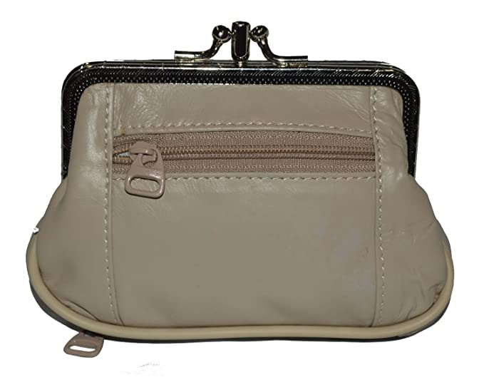 68f261c77b3 LeatherBoss Large Coin Purse Double Frame With Zipper Pocket (Beige ...