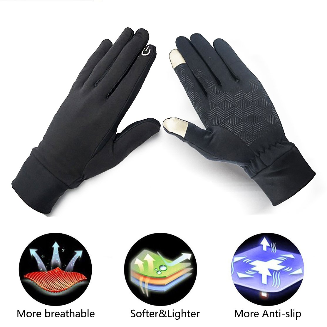 Touch Screen Gloves, Thick Warmest Running Sports Gloves Suitable for Smartphones and Touchscreen Devices,Outdoors, Cycling, Running, Texting Fits Men and Women