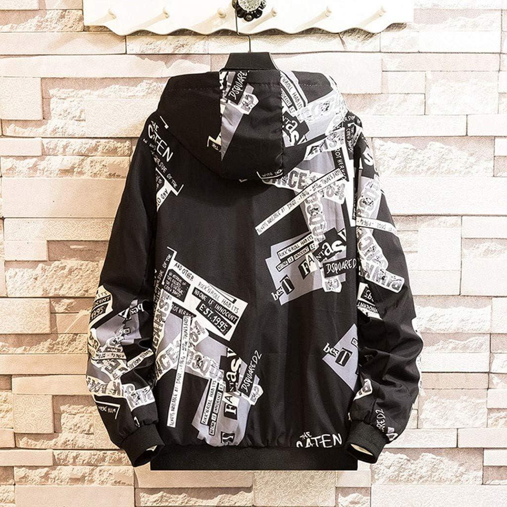 Gleamfut Mens Windproof Jacket Coat Fashion Hipster Printed Hooded Autumn Winter Windbreaker Tops for Men