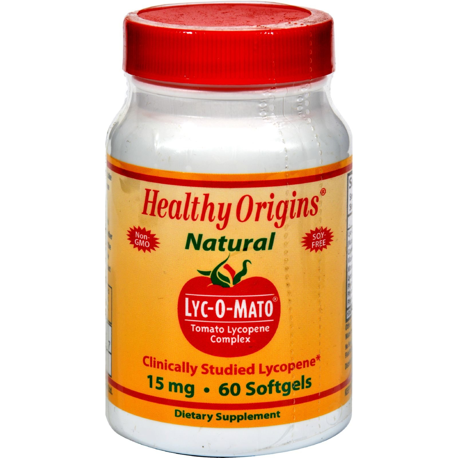 Healthy Origins Lyc-O-Mato - 15 mg - Non GMO - Soy Free - 60 Softgels (Pack of 2)