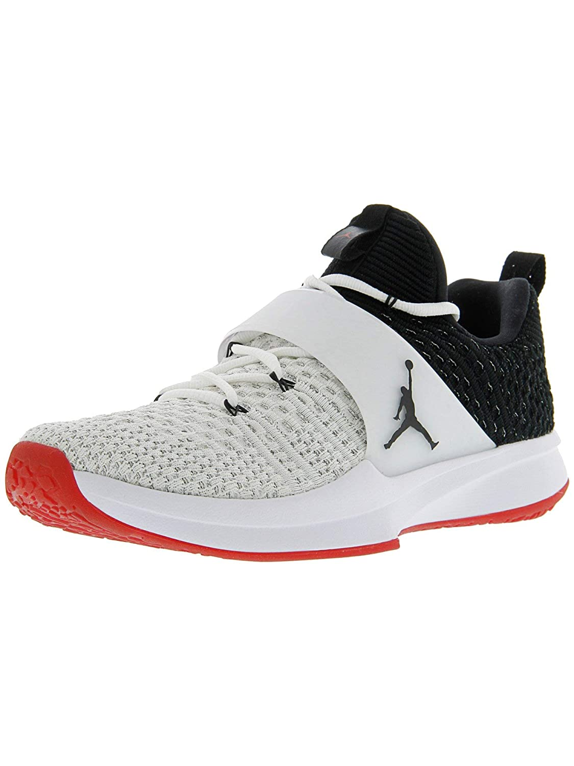 separation shoes e4a87 e692a Amazon.com   Nike Men s Jordan Trainer 2 Flyknit White Black - Gym Red  Ankle-High Fabric Training Shoes 10.5M   Fitness   Cross-Training