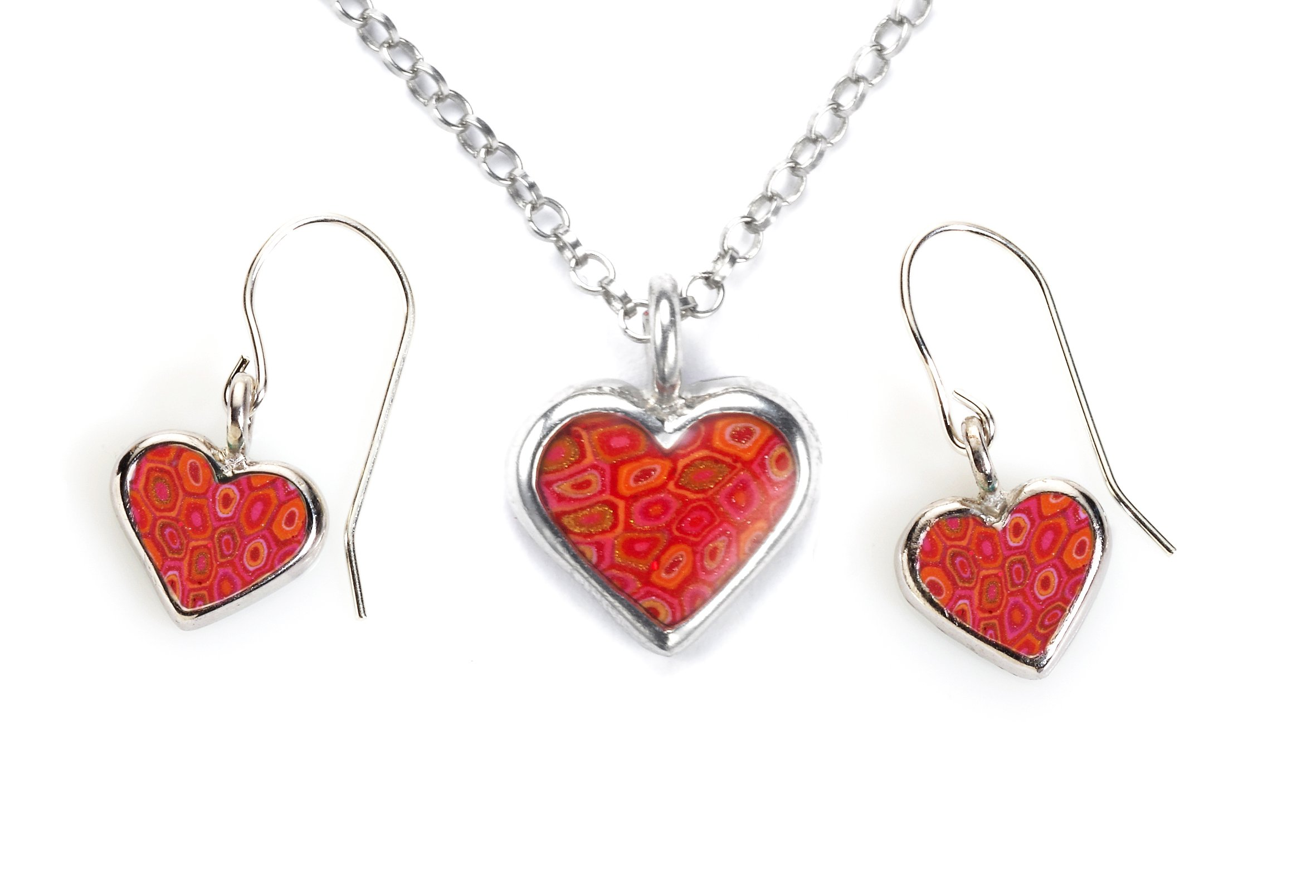 925 Sterling Silver Tiny Heart Necklace and Matching Dangle Earrings Handmade Red Polymer Clay Jewelry Charm Set, 16.5''