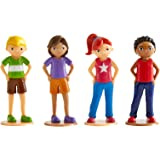 Wonderhood Kids - Set of 4 People Figurines - Compatible with Building and Play Sets for Creativity, Imagination and Pretend Fun