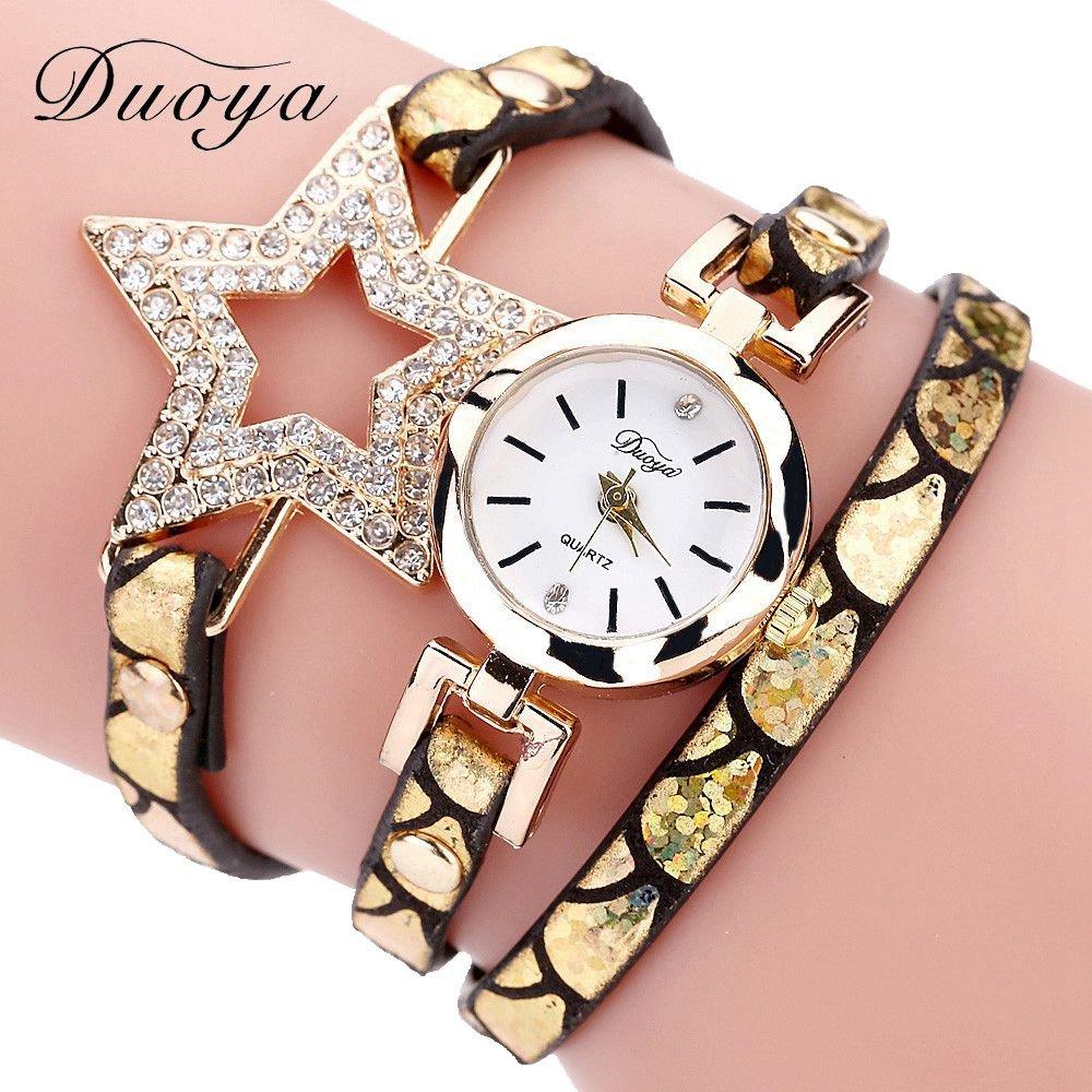 94a8406c482d8 Amazon.com  Mosunx Women Watches (TM) Fashion New Girl Watches Charm Wrap  Around Leatheroid Quartz Wrist Watch Girlfriend Gift (Brown B)  Health    Personal ...