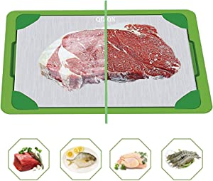 QIZON Defrosting Tray Fast Thawing Plate Board Premium Cooling Tray for The Safest Way Rapid Thaw Frozen & Naturally Cooling Foods with HDF High-density Aerospace Alloy with Water Base Tray, Non-stick