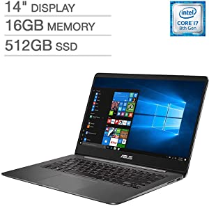 ASUS ZenBook UX430UN UltraBook Laptop: 14inFHD (1920x1080), 8th Gen Intel Core i7-8550U, 512GB SSD, 16GB RAM, NVIDIA MX150 Graphics, Backlit Keys FingerPrint Reader, Windows 10 (Renewed)