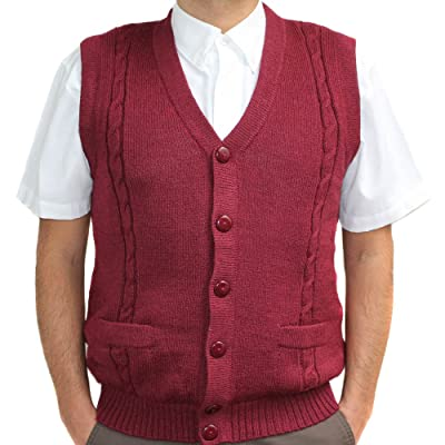 Alpaca Vest Golf Sweater Jersey BRIAD Burgundy V Neck Buttons and Pockets Made in Peru at Men's Clothing store