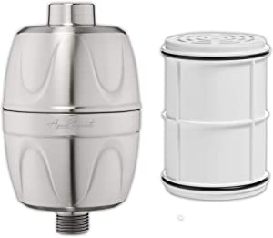 Shower Water Filter + Extra Cartridge - Universal Home Showerhead Filters With Activated Charcoal To Remove Chlorine And Hard Minerals + 1 Extra Replacement Cartridge - Brushed Nickel