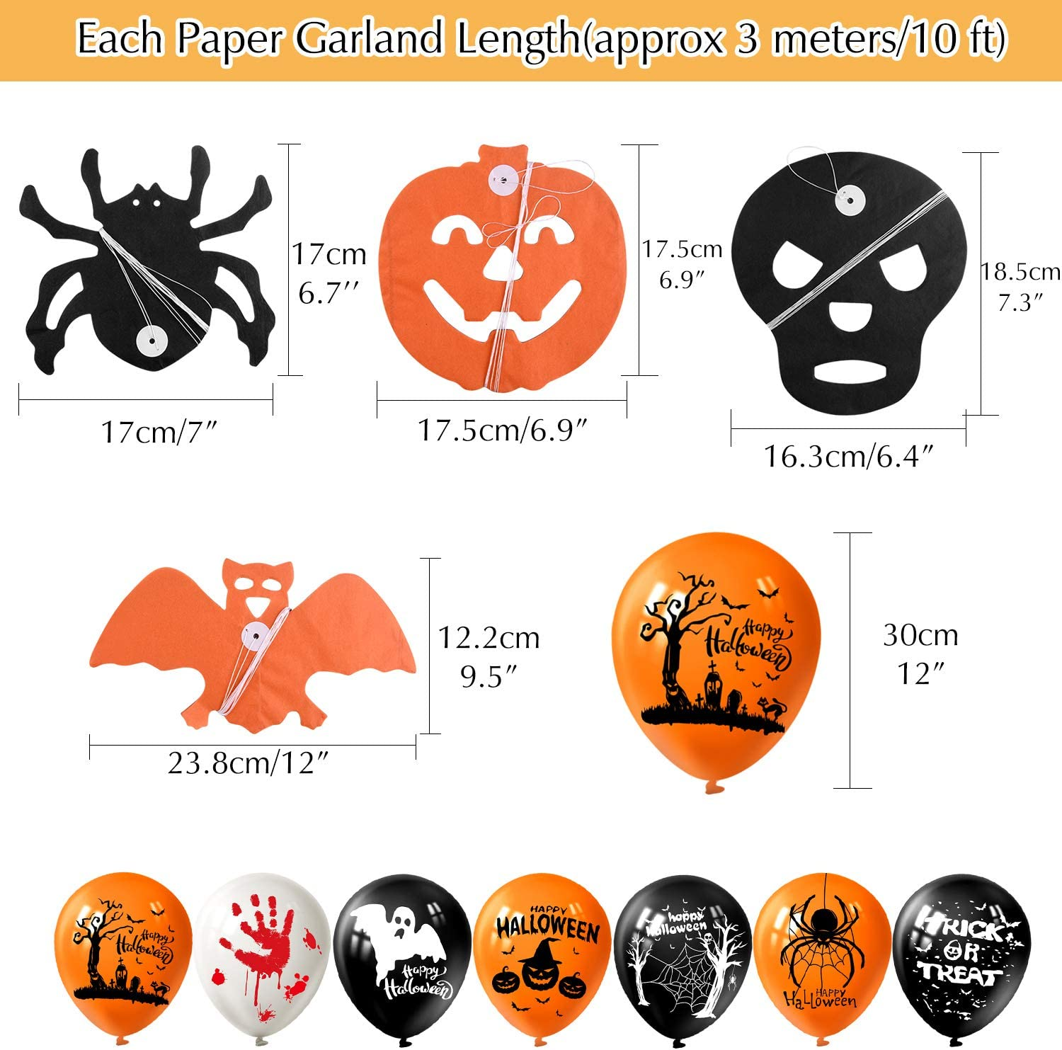 MIAHART Set di Decorazioni per Feste di Halloween Happy Halloween Banner con 5 Pezzi Spider Bat Zucca Ghost Foil Balloon 4 Pack Ghirlanda di Halloween e 18 Pezzi Balloon in Lattice