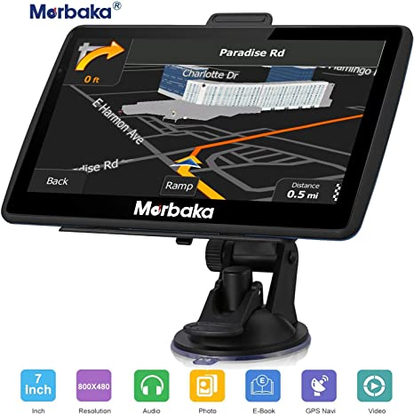 Marbaka GPS Navigation for car, 7 inch HD Capacitive Touch Screen GPS Navigation System with 8G Memory, Attach Sunshade,Free Lifetime Maps ...