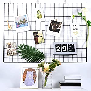 Pulatree Grid Photo Wall(Set of 2), Grid Panel Decorative Iron Rack Clip Photograph Wall Hanging Picture Wall, Ins Art Display PhotoWall 2 Packs 25.6 x17.7inch (Black)