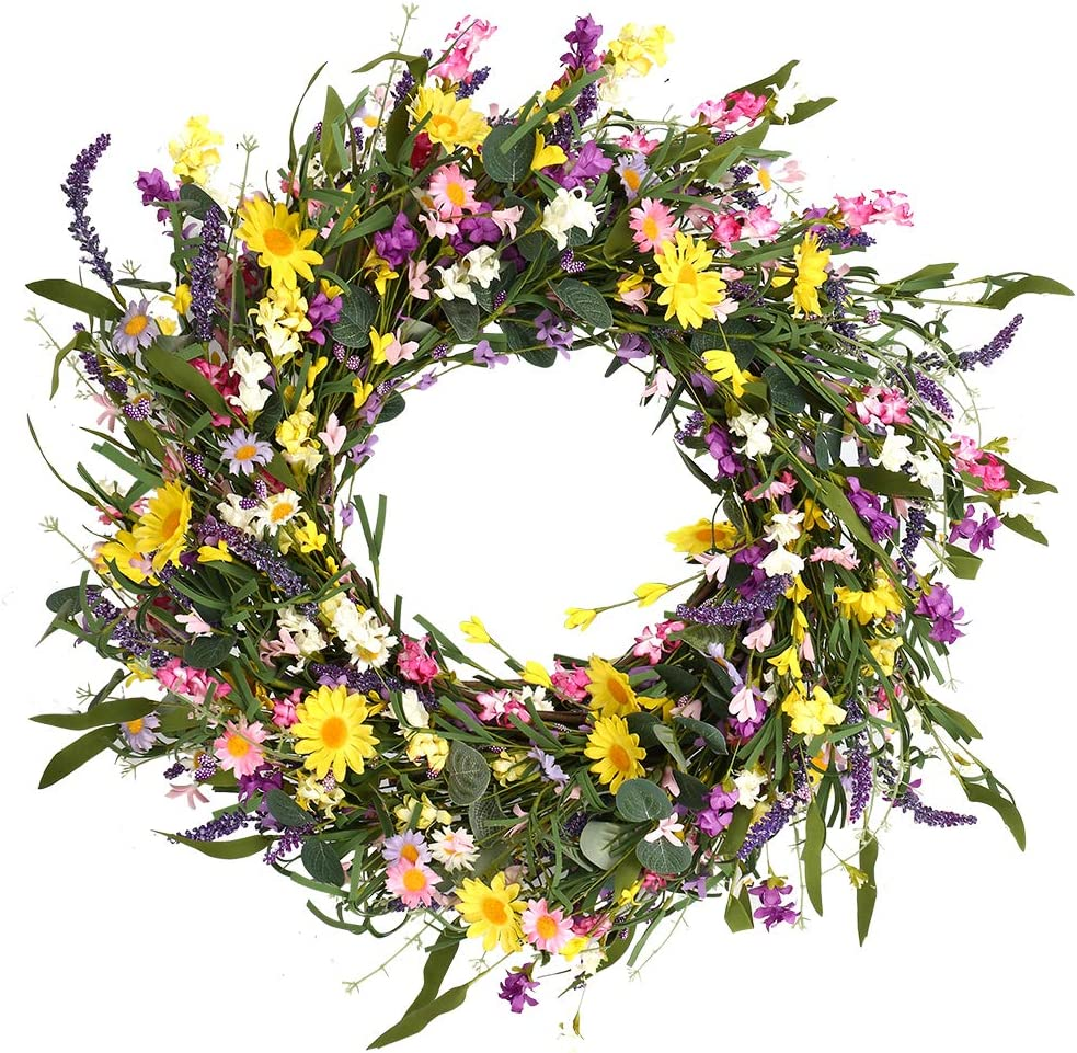 """J'FLORU Decor Wreath,24"""" Daisy and Lavender Wreath,Beautiful Artificial Spring and Summer Wreath Front Door or Home Decoration"""