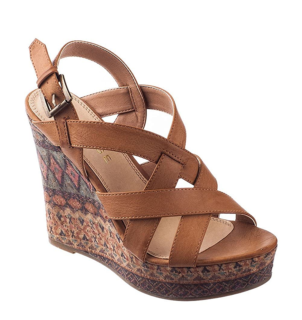 Rampage Women's Southwestern Printed Boho Platform Wedge Sandals - HEMISH B01III176Q 8.5 B(M) US