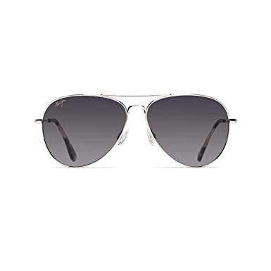 6ee0ba16e4 Image Unavailable. Image not available for. Color: Maui Jim Sunglasses |  Mavericks GS264-17 | Polarized Silver Aviator ...